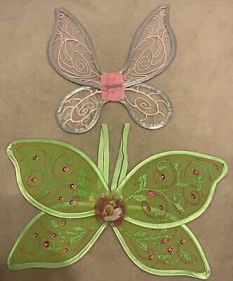 LOT OF 2 TINKERBELL WINGS Girl's Halloween Dress Up Small Green Gray Pink #O116