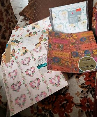 Sealed packages Mid Century - current Vintage Gift Wrap, wrapping Paper Lot