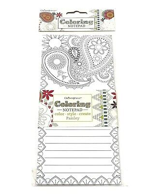 Note Pad Adult Coloring Doodle Lined Paisley Grocery List Home Office Notepad -