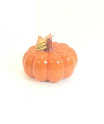 Glazed Ceramic Autumn Fall Thanksgiving Orange Pumpkin Decoration