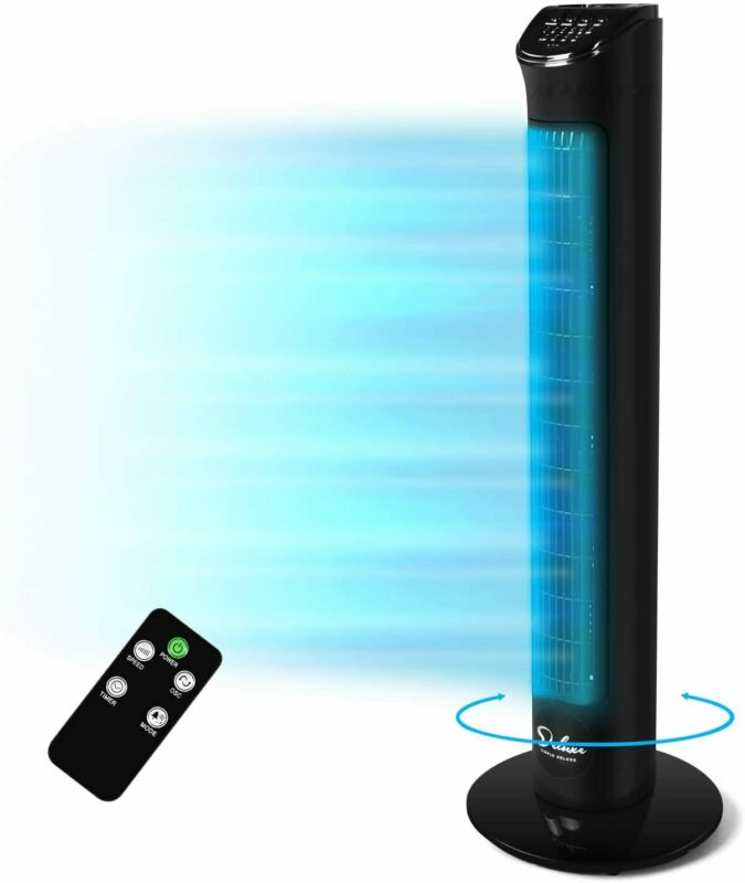 Simple Deluxe 32'' Electric Oscillating Tower Fan with Remote Control for Indoor