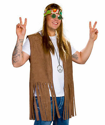 braune Hippie Weste Größe XL Herren Kostüm 60er Jahre - Flower Power Kostüm Herren