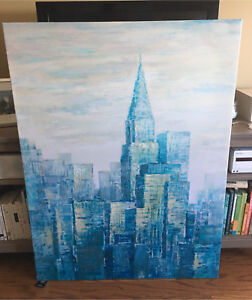 Blue cityscape canvas