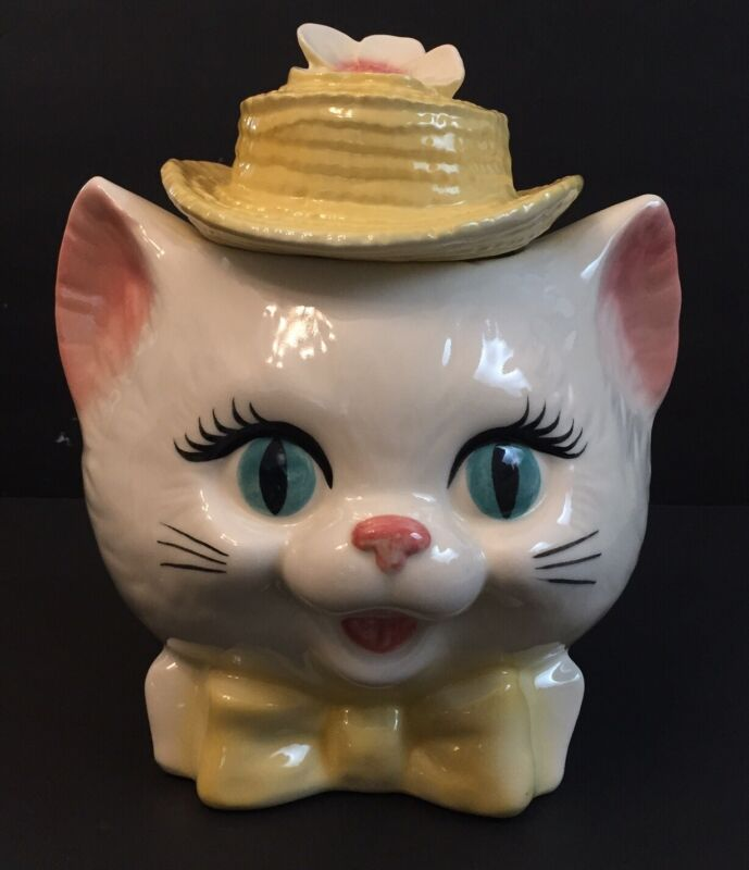 Cat Head Cookie Jar Vintage White Cat With Hat And Bow Tie