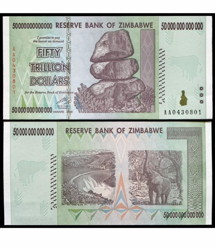 50 TRILLION DOLLARS ZIMBABWE BANKNOTE AA GEM Unc Note Currency 2008