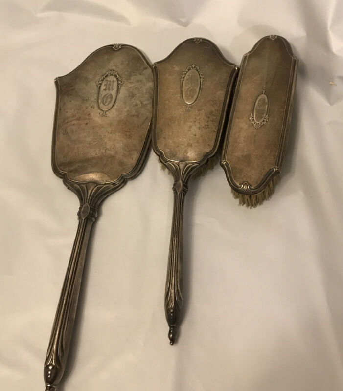vintage sterling Silver / Comb hand mirror brush Set