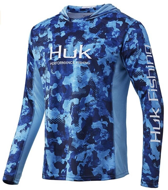 Huk 💦🐟 Icon X Refraction Camo San Sal Small Long Sleeve Hoodie Fishing Shirt