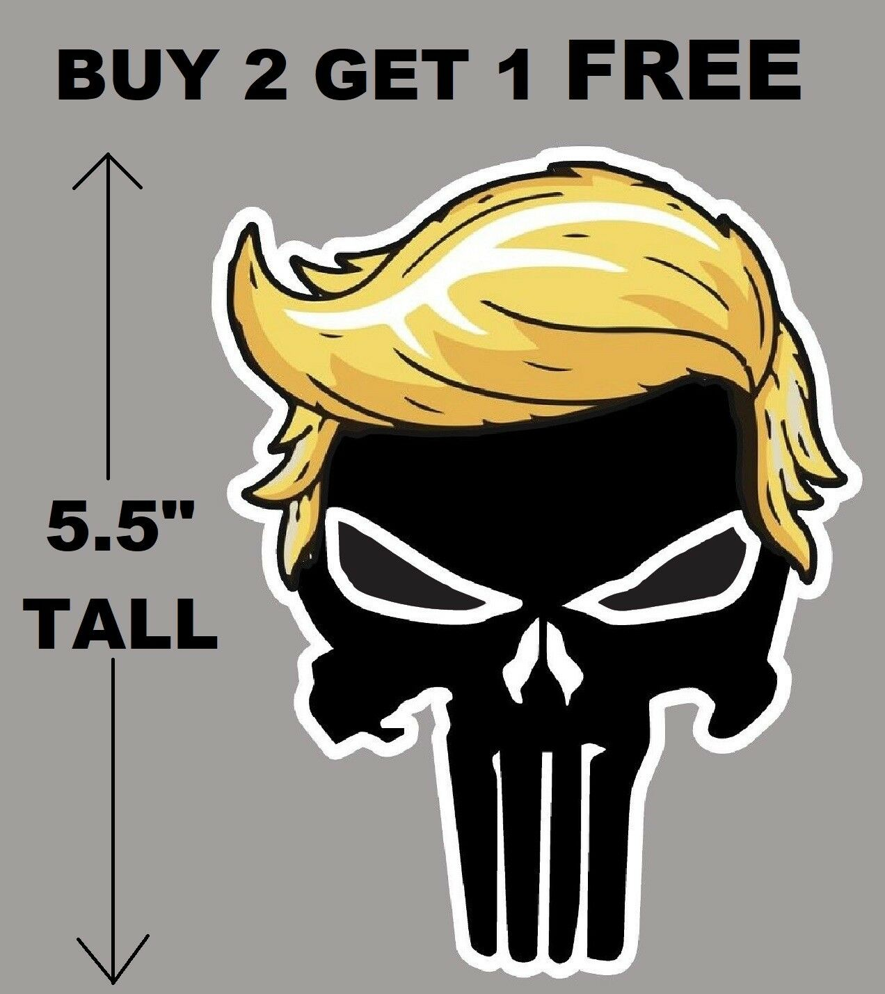 Home Decoration - TRUMP PUNISHER with hair window decal bumper sticker funny pro USA NRA 2A MAGA
