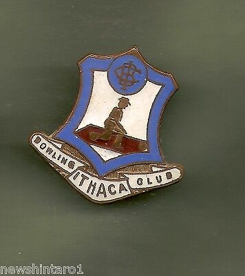 #D12.  ITHACA   BOWLING  CLUB LAPEL  BADGE,  REPLACED CLIP ()