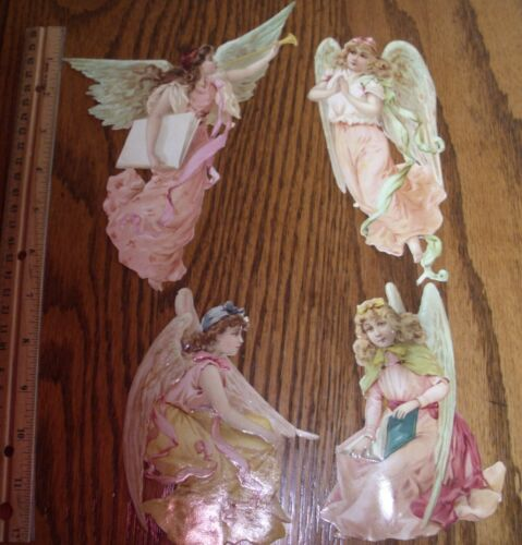 4 GORGEOUS ANGELS  Antique Raphael Tuck  Die Cut Scrap Victorian  LARGE