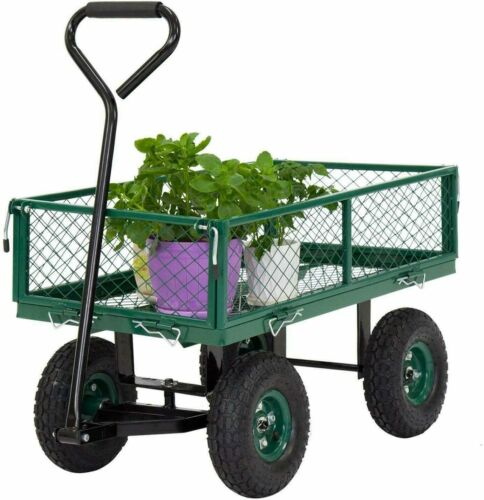 Garden Carts Yard Dump Wagon Cart Lawn Utility Cart Outdoor Steel Heavy Duty