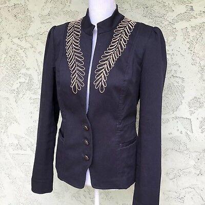 John Varvatos Womens Jacket - Womens Converse John Varvatos Navy Blue Blazer Jacket Embroidered Size M #013