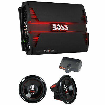 Boss 3700W 5 Channel Car Audio Amplifier & 12 Inch 2300 Watt Subwoofers (2 Pack) Boss Audio 12 Inch Subwoofers