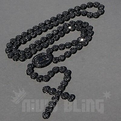 Black Onyx Pendant Necklace - Jet Black Onyx CZ Iced Out ROSARY FLOWER Jesus Cross Pendant Mens Necklace Chain