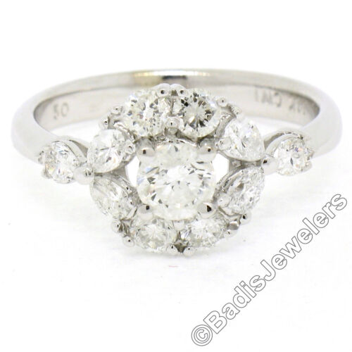 14k White Gold 1.14ctw Round & Pear Cut Diamond Solitaire & Halo Cluster Ring