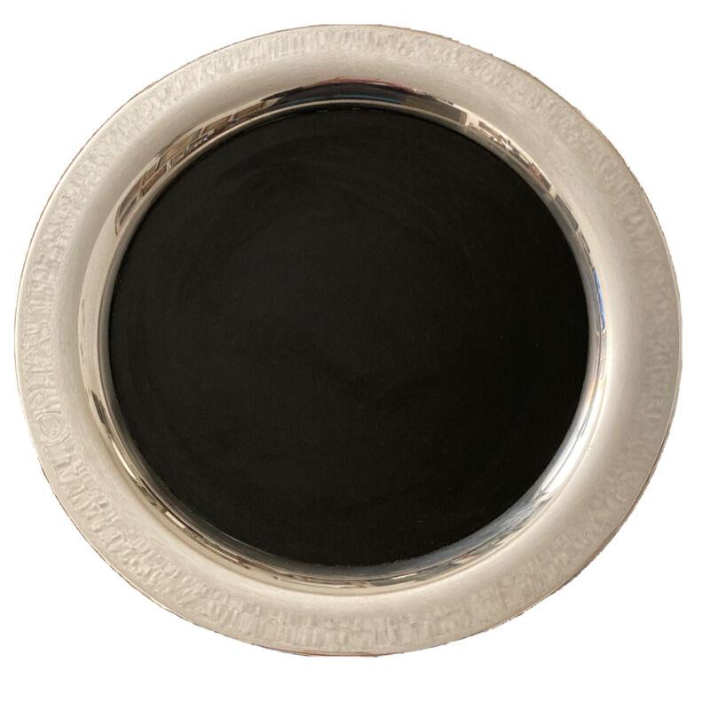 "Vintage Wm A Rogers Silver Rim Westinghouse Black Micarta Cocktail Tray 14 3/4"""