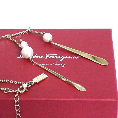 Auth Salvatore Ferragamo Necklace Light GoldTone Faux Pearl Italy Good in Box