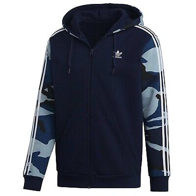 Adidas Mens Camouflage Hoodie Full Zip Sweatshirt Navy DX3661