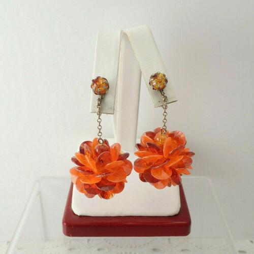 VTG Early Plastic Shades of Orange Crystal Cluster Pom Pom Dangle Clip Earrings