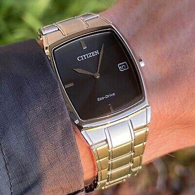 Citizen Eco-Drive Men's Watch | AU1070-58E Silver Steel Rectangular Black Dial