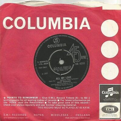Cliff Richard - All My Love original 1967 7 inch vinyl single