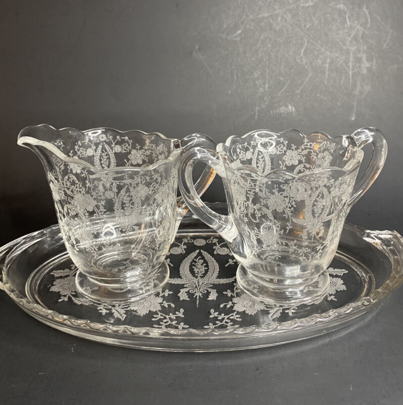 Vintage New Martinsville PRELUDE Footed Etched Glass Creamer, Sugar, Tray
