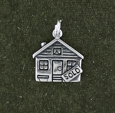 Real Estate House Charm Sterling Silver Pendant Sold Sign Agent   Split Ring