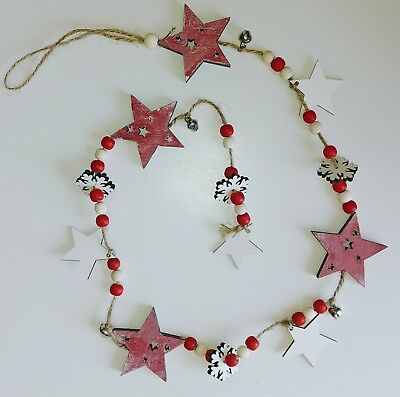 WHOLESALE 10 x WOODEN CHRISTMAS STAR GARLAND decoration 100cm BNWT rrp £6 each ()