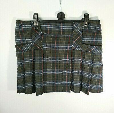 Warehouse Short Tartan Skirt Pleated Pockets Blue Green Hogmanay Plaid NYE UK (Warehouse Nye)