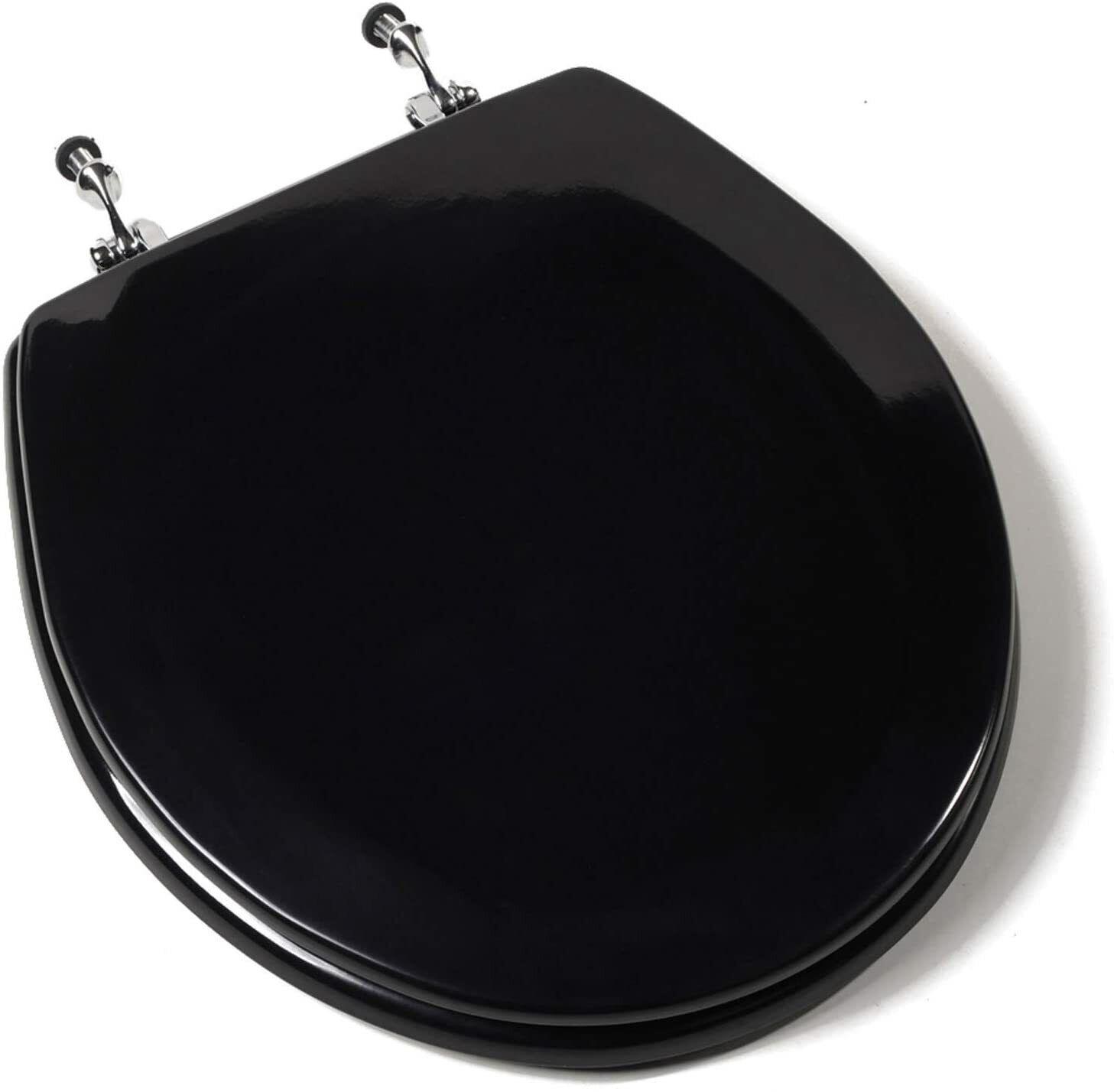 Deluxe Black Wood Round Toilet Seat – Chrome Hinges Bath
