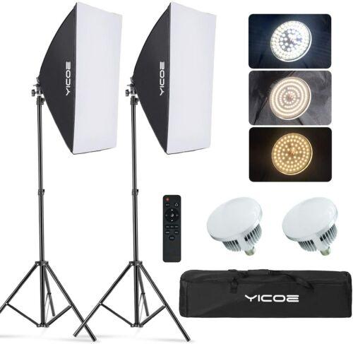 YICOE 2 pack Softbox Lighting Kit Photography Photo Studio Equipment