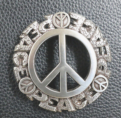 ROUND PEACE SIGN IN STONE ANTIQUE SILVER ROUND 3D BELT BUCKLE NEW