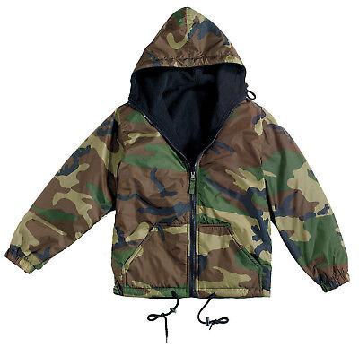 Waterproof Woodland Camo Jacket Reversible Fleece Lined Warm Winter Rothco 8463
