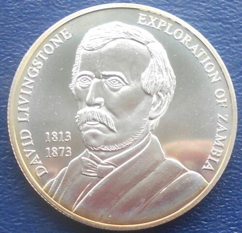 Scarce .999 Silver 1 Oz 2002 Zambia 1000 Kwacha David Livingstone Gem BU # 747