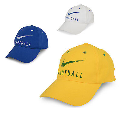 NIKE Football Hat Baseball Soccer Cap Yellow Blue White One Size Unisex