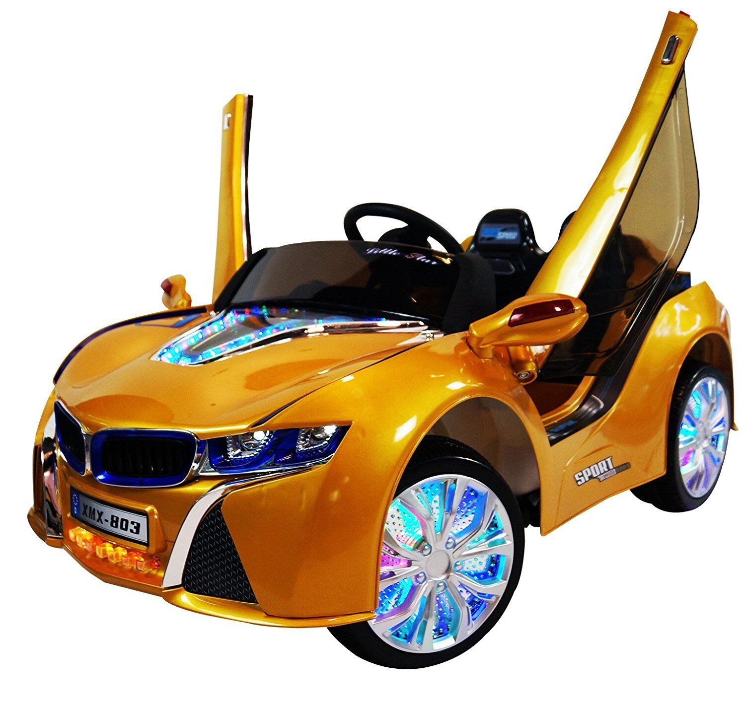 kinder elektroauto kinderauto bmw xmx 803 traumauto lizenziert mp3 fernst gelb ebay. Black Bedroom Furniture Sets. Home Design Ideas