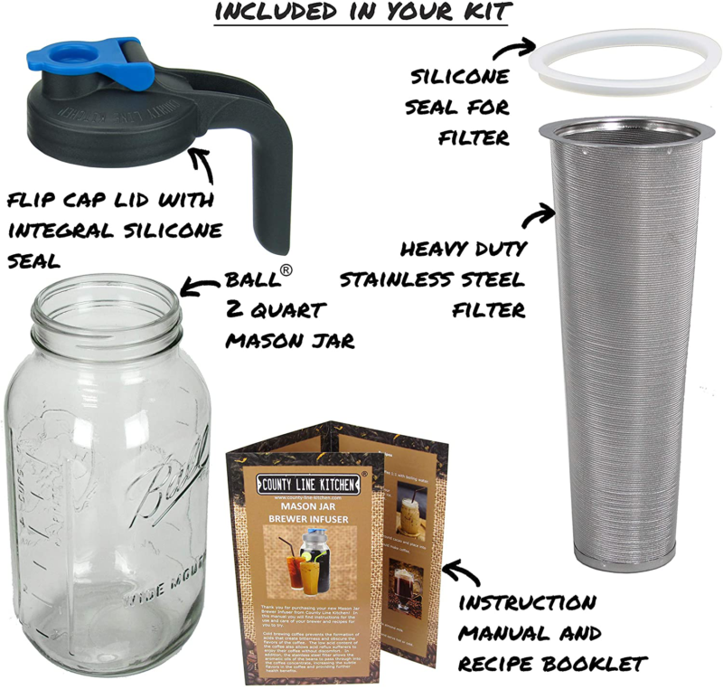 COFFEE MAKER/COLD BREW/BALL MASON JAR/HANDLE BY COUNTY LINE