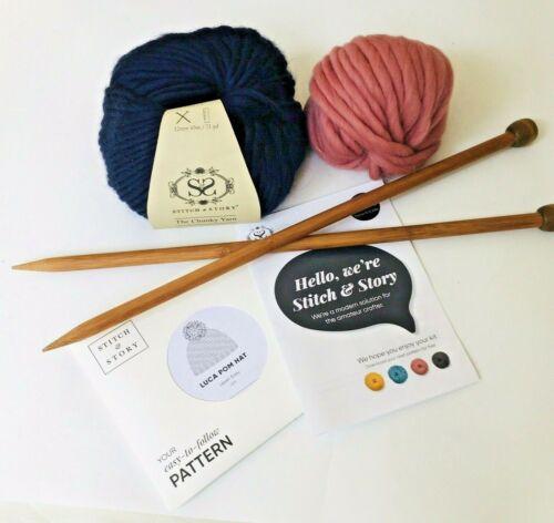 Stitch & Story Knitting Kit Pompom Hat Cap Blue Pink Chunky Yarn Wool