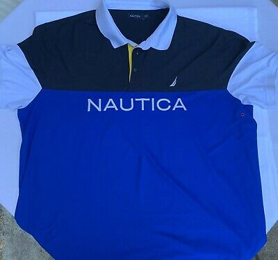 Mens Nautica Short Sleeve Polo Rugby Spell Out Color Block Big Logo 4XLT