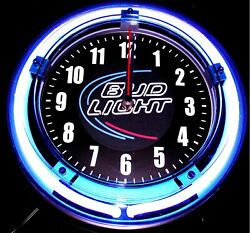 BUD LIGHT LOGO - 11 Blue Neon Wall Clock