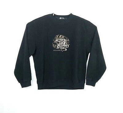 Black Men Sweaters - Gear For Sports Mens Size Large Sweater Crewneck Alaska Black Pullover