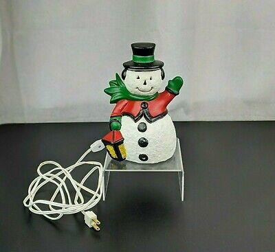 Christmas Ceramic Mold Snowman Light Up Lamp Figure Decor Scarf Lantern Cute