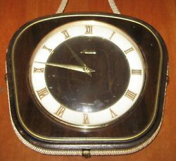 Vintage Wall Clock German Mauthe No. 2788 Dark Wood Hanging Nautical Rope Trim