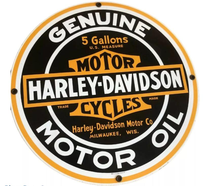 Harley Davidson Motor Cycles Genuine Motor Oil Porcelain Metal Sign Rooney Repro