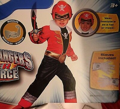 DISGUISE Saban Power Rangers Super Mega Force RED RANGER MUSCLE COSTUME CHILDREN (Megaforce Power Rangers Kostüm)