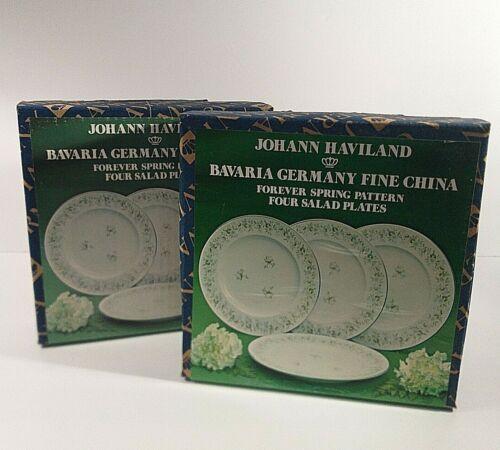 Johann Haviland Bavaria Germany China FOREVER SPRING Set of 8 Salad Plates NEW
