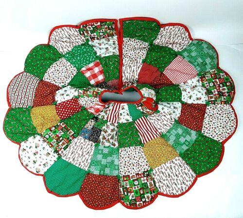"Vintage Handmade Reversible Patchwork Quilt Style Christmas Tree Skirt  45"""