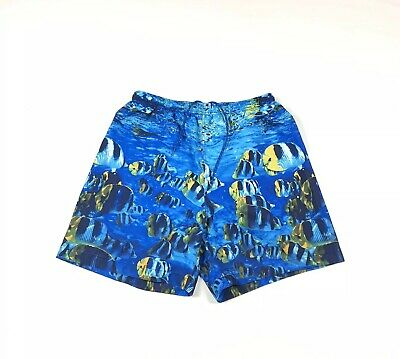 NWOT Nautica Mens Size L Mesh Lined Swim Trunks Bathing Suit Ocean Fish Blue