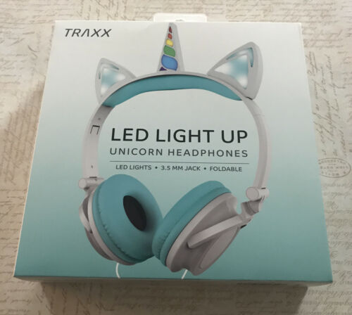 Traxx LED Light Unicorn Headphones Pastel Color Blue Foldable Wired 3.5MM Jack - $14.89