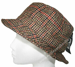 Ladies Reversible Herringbone Tweed Bush Sun Hat. Brown & Grey Country Cap NEW